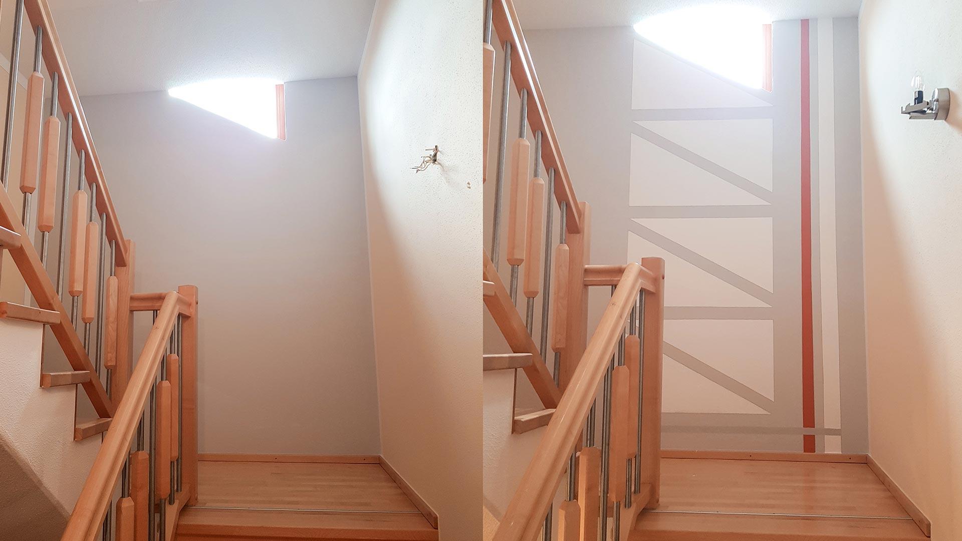 Treppenhaus - vorher/nachher