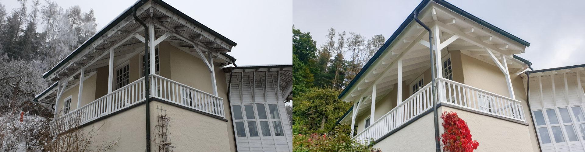 Fassade - Vergleich vorher und nachher